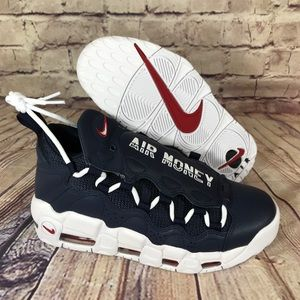 NIKE Air More Money Obsidian White Gym Red Shoes